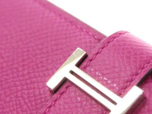 HERMES Bearn Soufflet Veau Epsom Rose Purple Wallet France #A Authentic 5441990
