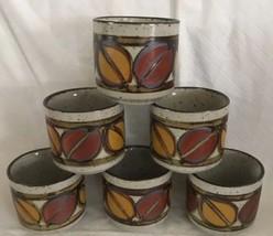 (6) Six OTAGIRI Speckled Handpainted Sake Tea Cup NEW Vintage Leaves RARE - $39.99