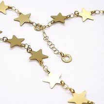 CHOKER NECKLACE YELLOW GOLD 750 18K, STARS FLAT, 40 CM image 3