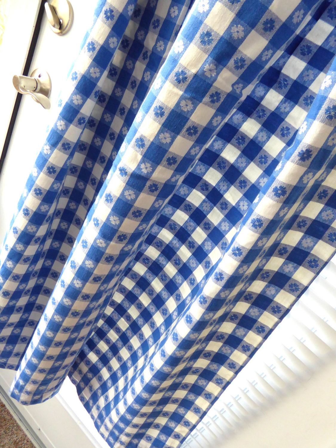Retro 56 Long by 27 Curtain Drapery 1950s Blue And White Picnic Cloth Reversible image 1