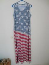 NEW WOMEN'S SEXY PATRIOTIC AMERICAN FLAG DRESS STRETCHY COMFY 2X/3X 4TH ... - $21.73