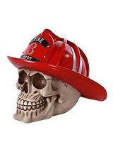 "Fearsome Firefighter Skull Fire Department Hat Brave Skull Head 6.25"" H - $21.77"