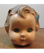 """VINTAGE DOLL HEAD PARTS 3"""" PAINTED GREEN EYES/BROWN HAIR COMPOSTION PATSY? - $34.65"""