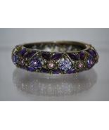 Bangle Bracelet with Purple Amethyst Colored (February Birthstone) Rhine... - $10.99