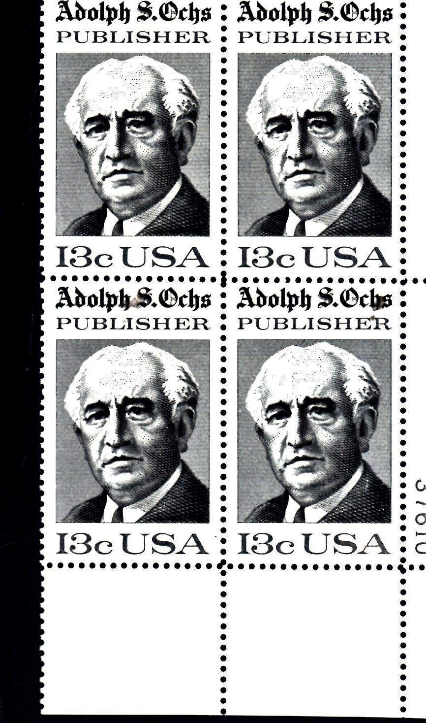 USPS  Stamps - Adolph S. Ochs, Publisher 1976 - Plate Block
