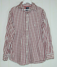 Chaps Mens Large Shirt Long Sleeve Oxford Button Front Red White Blue Plaid L  - $24.70