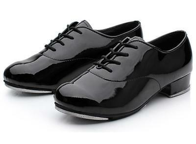 Leo's 1006T Black Adult Size 6 Medium Oxford Patent Lace-Up Tap Shoe