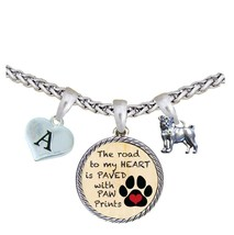 Custom Dog Pug Road to My Heart Paw Print Silver Necklace Jewelry Choose... - $16.73
