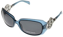 Giorgio Armani Sunglasses Women GA707S A55 Blue Silver Rings Rectangular - $177.21