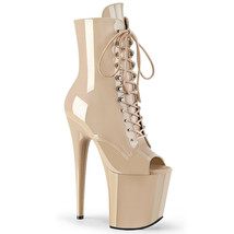 """PLEASER FLAM1021/ND/M 8"""" Heel Nude Patent Platform Lace Up Peep Toe Ankl... - $89.95"""