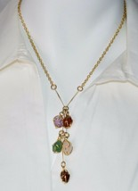 VTG Gold Tone Multi-Color Polished Stone Dangle Necklace Matching Bracel... - $19.80