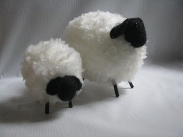"""2 Size   Wool Sheep Ornaments White Fur, Back Face and Legs putz 4 and 6"""" - $22.72"""