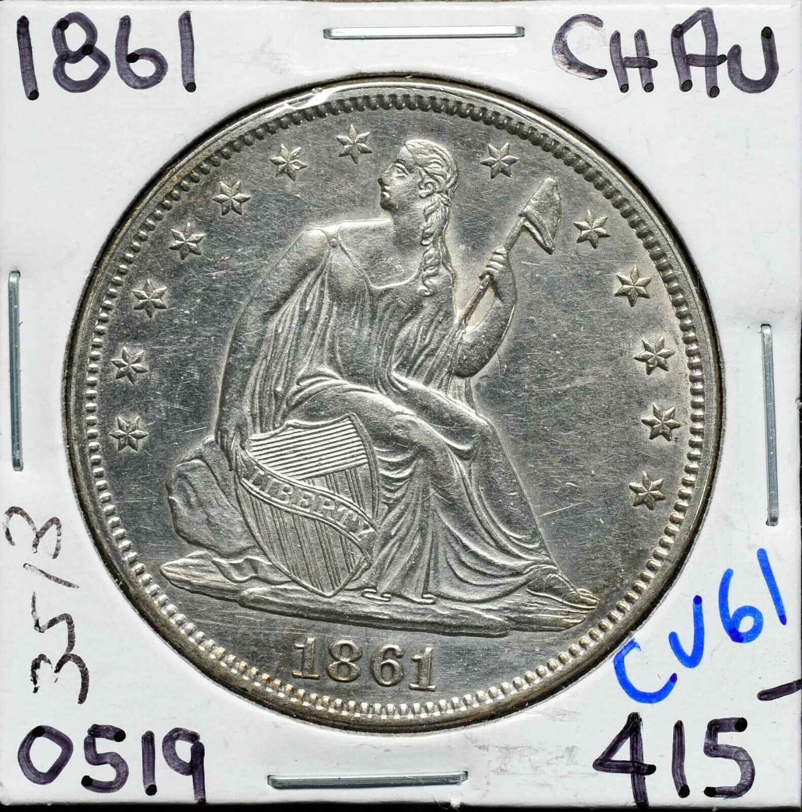 1861 Seated Liberty US Silver Half Dollar Coin Lot CV61