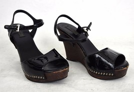 Prada Sandals Black Patente Leather Studded Platform Wedge Shoes 36.5 Womens - $99.00