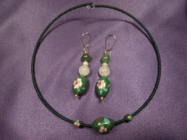 Vintage Cloisonne Green Beaded Choker Necklace and Earrings Set - $44.55