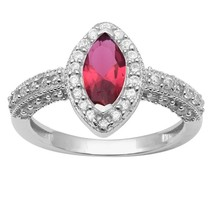 Red Cz & White Topaz 925 Sterling Silver Ring Shine Jewelry Size-8.5 SHR... - $15.92