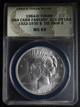 RARE 1964D Token Dan Carr MS69 O/Struck on Peace Dollar Coin Lot A646