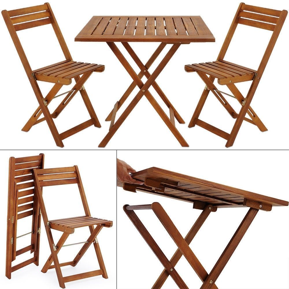 Wooden Garden Foldable Set 3pcs Patio Balcony Furniture Table & 2 Chairs Natural