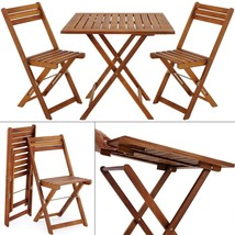Wooden Garden Foldable Set 3pcs Patio Balcony Furniture Table & 2 Chairs... - $101.59