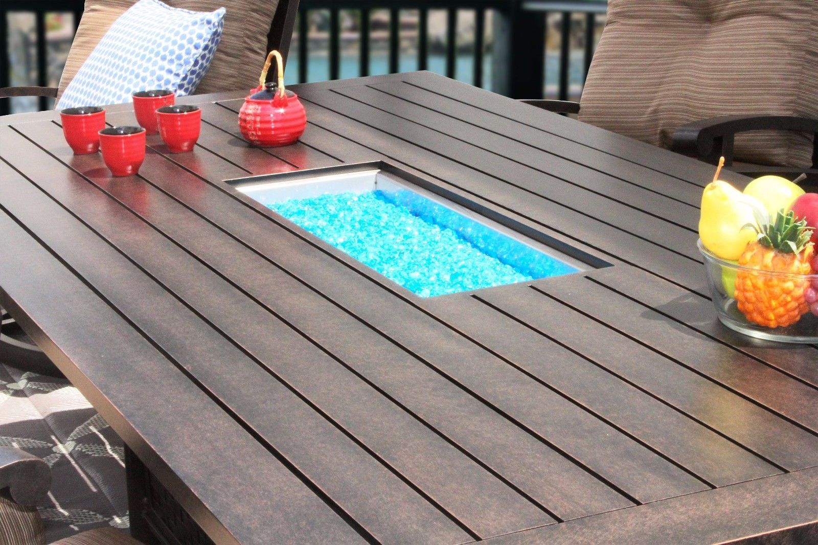 """OUTDOOR PATIO 47"""" X 90"""" RECTANGLE DINING FIRE TABLE - SERIES 4000"""