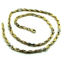 18K YELLOW WHITE GOLD CHAIN 4mm ALTERNATE 4+1 OVAL AND WHITE BIKE LINK 6... - $2,736.00