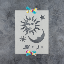 Celestial Sun and Moon Stencil - Reusable Celestial Stencils for DIY Crafts - $5.99+