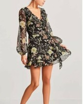 Forever 21 Sheer Floral Belted Peasant Style Wrap Dress Size M NEW - $15.64