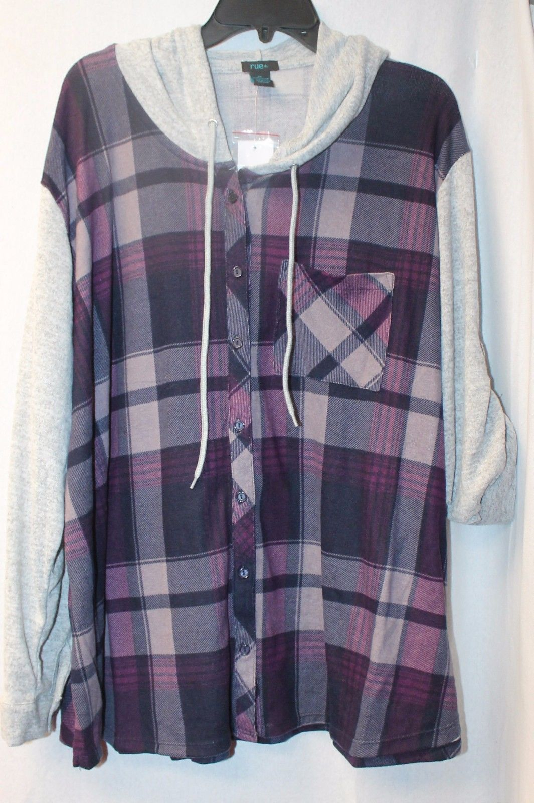 Primary image for NEW WOMENS PLUS SIZE 3X PURPLE PLAID HOODED SOFT HACCI BLOCKED SHIRT HOODIE
