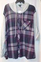 New Womens Plus Size 3X Purple Plaid Hooded Soft Hacci Blocked Shirt Hoodie - $19.34