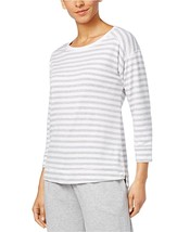 CHARTER CLUB MISS-MMG Charter Club Ribbed-Trim Pajama Top Grey Stripe XXXL - $12.57