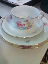 4 Pieces of U S Zone German China - Rose Pattern - 2 Plates - Cup & Saucer - $5.51
