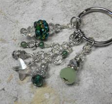 Starfish Crystal Glass Beaded Beach Theme Handmade Keychain Green Silver - $14.83
