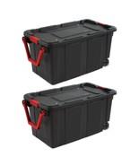 NEW Sterilite 40 Gallon Wheeled Industrial Tote Black Case of 2 Ergonomi... - $75.00