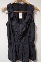 NWT EXPRESS Gray Sleeveless Ruffle-front Polyester Blouse Women's Size S - $15.83