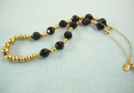 Park Lane Black Faceted Beads Gold Plate Chain Necklace Strand Vintage E... - $15.79