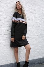 Leopard Long Sleeve Spliced Sweatshirt Dress - $30.00