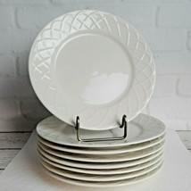 "Set of 8 Oneida Picnic Bread Butter Plates Embossed Basket Weave Design 6"" - $32.99"