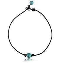 Single Stone Pearl Choker Turquoise for Women on Black Genuine Leather C... - $12.76