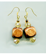 brown big bead drop earrings long dangles wood glass beaded chunky boho ... - $5.99