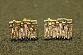Vintage Cufflinks Brutalist Modernist Design Hickok Gold Tone Fashion Jewelry - $45.00