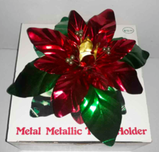 Christmas Poinsettia Taper Metal Metallic Taper Candle Holder Vintage or... - $8.32
