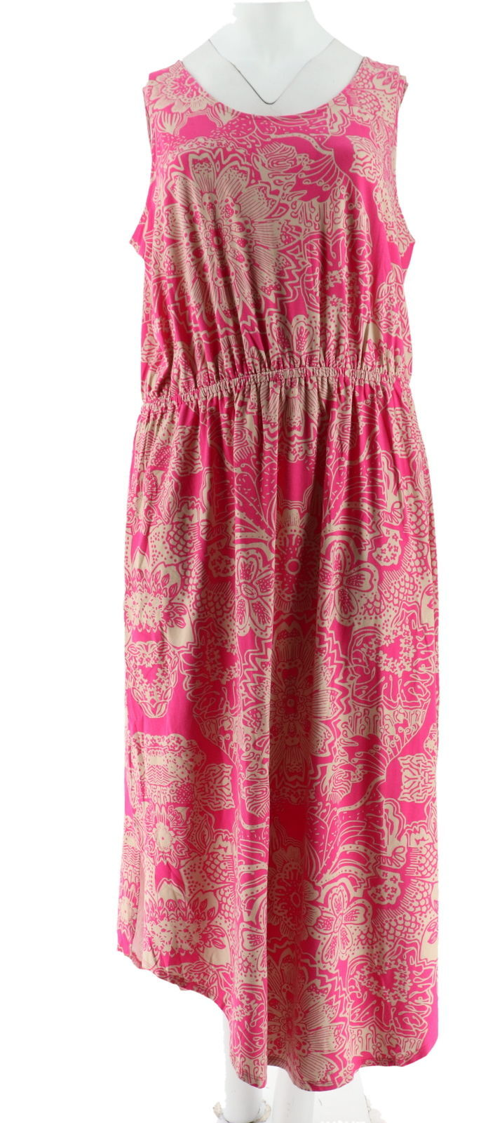 Liz Claiborne NY Rounded Hem Knit Maxi Dress Magenta Pink S NEW A254862