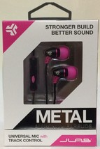 JLAB Black Pink Metal Aluminum Earbuds Universal Mic with Track Control - $11.40