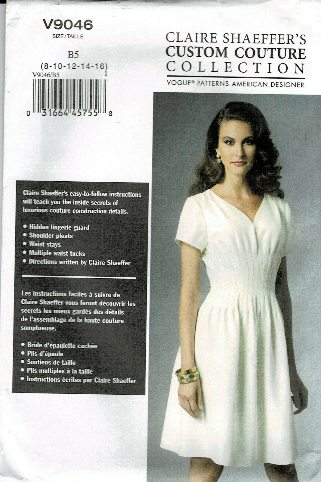 Primary image for Vogue Pattern V9046 Claire Sharffers Couture Collection Dress Szs 8-16  New