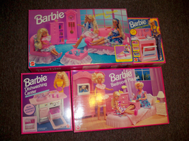 Barbie Mattel ArcoToys USED Playsets Living, Cooking, Dishwashing, Bedro... - $129.99
