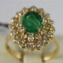 18K YELLOW GOLD 750 RING WITH DIAMONDS AND GREEN EMERALD, FLOWER MADE IN ITALY image 1