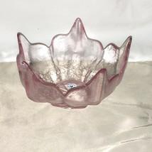 Vintage Viking Mid Century Dalzell Pink Glass Flower 5 Petal Lotus Candy Bowl - $29.69