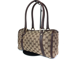 Authentic GUCCI GG Pattern Canvas Leather Brown Shoulder Bag GS14118L - $198.00