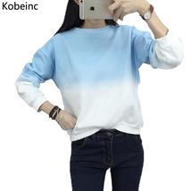 Fashion Long Sleeve Sweatshirts Slim Autumn Moletom Round Neck Gradual C... - $15.18+