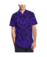 Blue Pixelate Geometry Men's Short Sleeve Shirt With Lapel Collar - $38.00